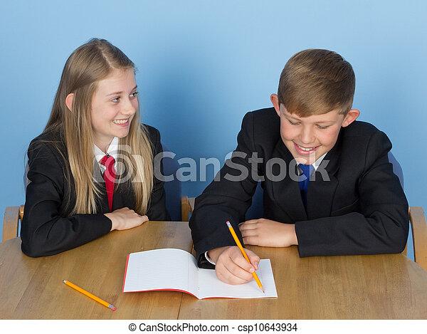 Two schoolchildren doing homework - csp10643934