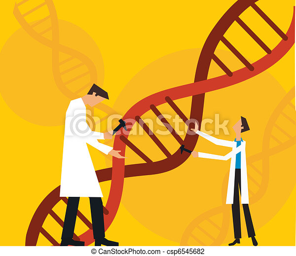 Two scientists fixing dna - csp6545682