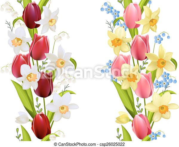 Two seamless borders with spring flowers tulips and daffodils two seamless borders with spring flowers csp26025022 mightylinksfo