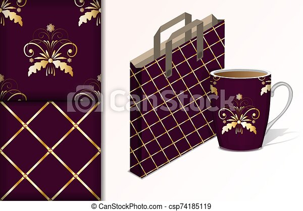 Two seamless patterns Bag and cup and mock up with gold patterns Concept for design of fabric and paper for printing - csp74185119