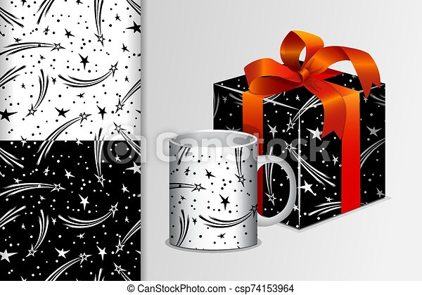 Two seamless patterns Gift and mug and mock up with starlets Concept for design of fabric and paper for printing - csp74153964