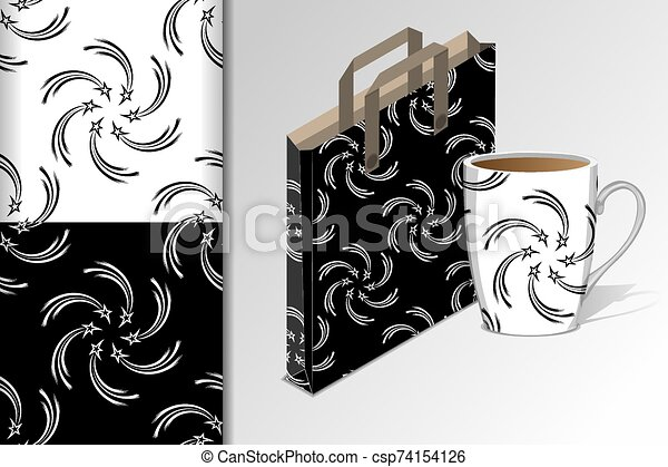Two seamless patterns Package for purchases and a mug and mock up with starlets Concept for design of fabric and paper for printing - csp74154126