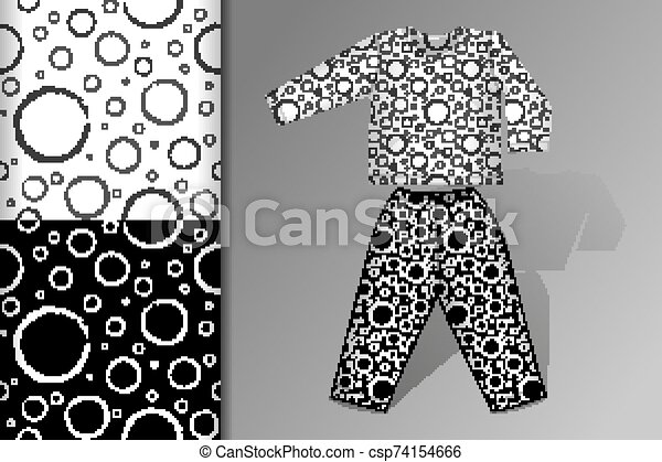 Two seamless patterns Pajamas and mock up with flying balls Concept for design of fabric and paper for printing - csp74154666