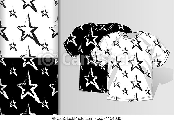 Two seamless patterns T-shirt and mock up with starlets Concept for design of fabric and paper for printing - csp74154030
