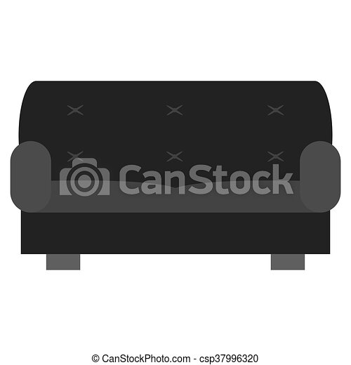 Two Seat Sofa Vector Illustration Simple Grey Two Seat Sofa