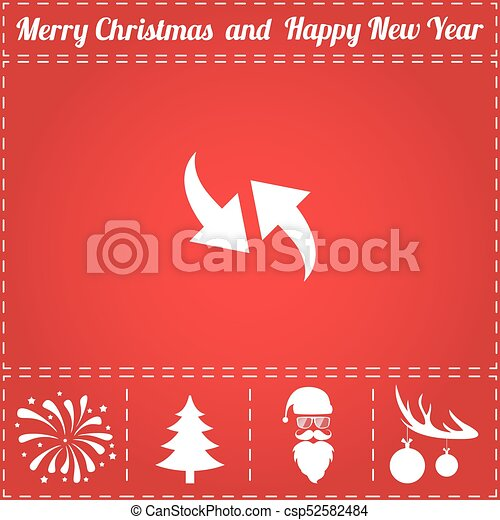 Two Side Arrow Icon Vector And Bonus Symbol For New Year Santa