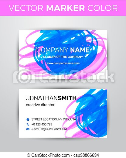 Two Sided Business Card Template Black Paint Strokes Vectors - Two sided business card template