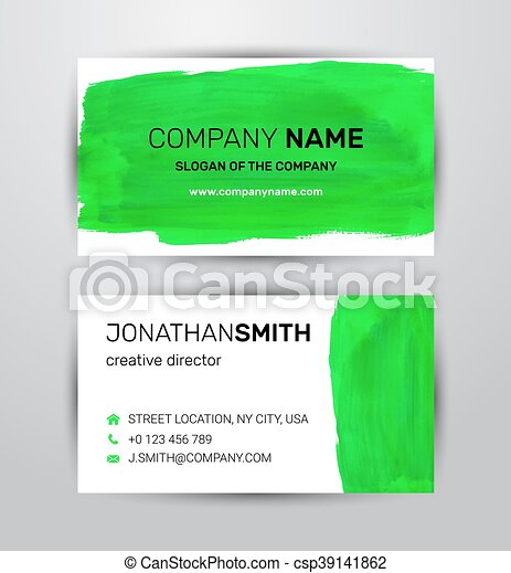 Two sided business card template green paint strokes markers fbccfo Image collections