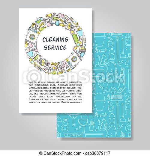 Two sides invitation card design with cleaning equipment two sides invitation card design with cleaning equipment illustration background vector design template for card letter banner flyern by used to stopboris Images
