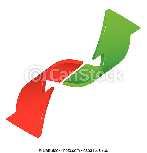 two signs arrow in red and green color - csp31676750