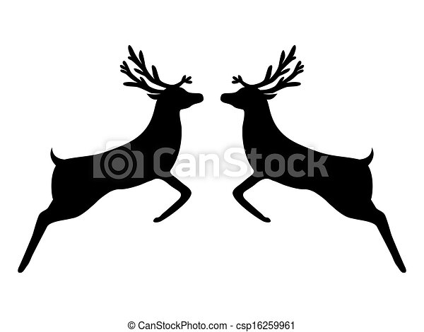 Two silhouette of the reindeer - csp16259961