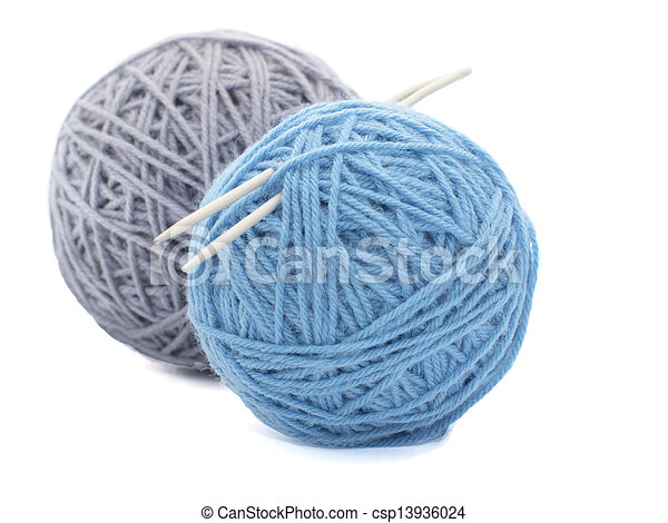 Two skeins of yarn on white background. Two coloured ...