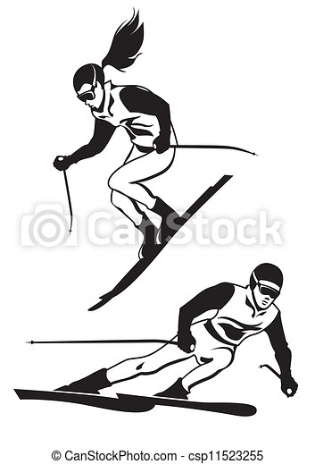 Two skiers on track - csp11523255