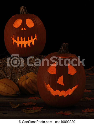 Two Smiling Jack-O-Lanterns - csp10893330
