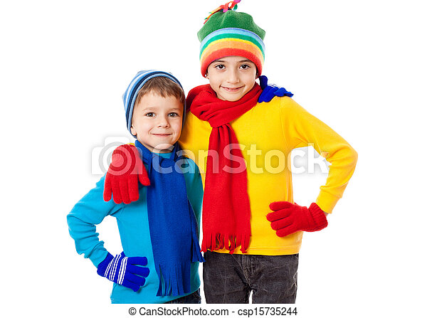 Two smiling kids in winter clothes - csp15735244