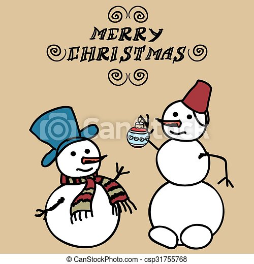 Two snowmen doodles. Christmas card template. large and small snowmen.