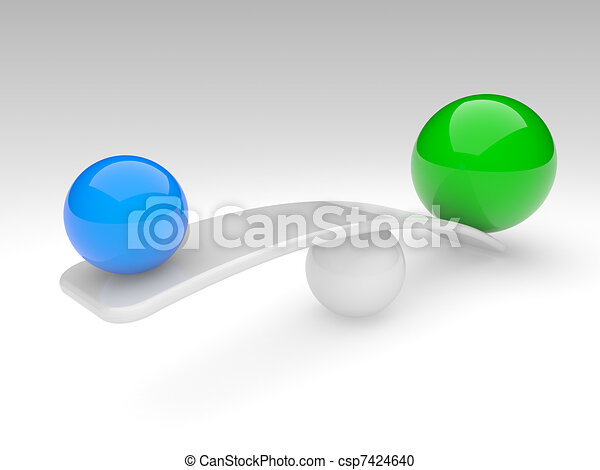 two spheres compare (balance concept) - csp7424640