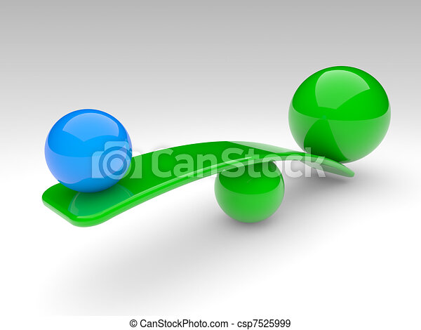 two spheres compare (balance concept) - csp7525999