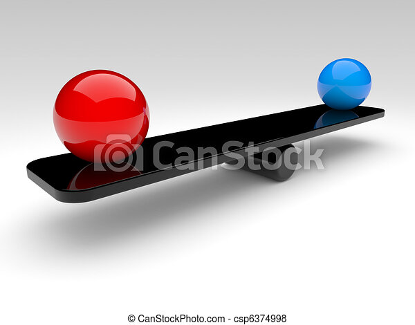 two spheres compare (balance concept) - csp6374998