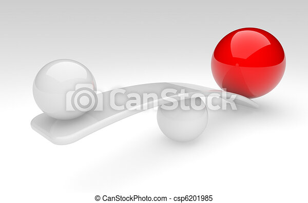 two spheres compare (balance concept) - csp6201985