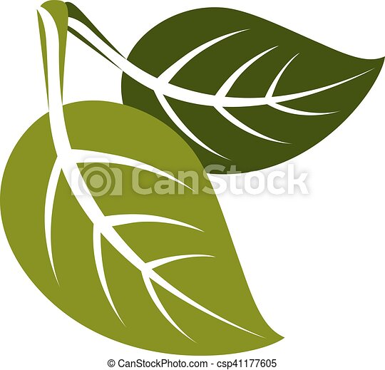 Two Spring Leaves Simple Vector Icon Nature And Gardening Theme