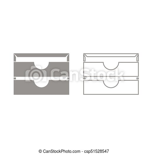 Two stationary paper tray grey set icon . - csp51528547