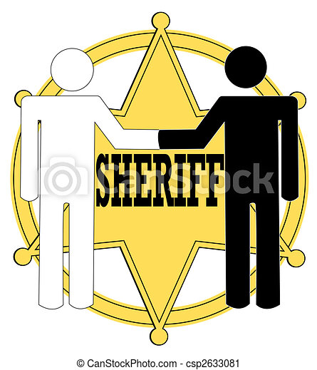 two stick figure people giving handshake with sheriff badge rh canstockphoto com sheriff star badge clipart sheriff badge clipart black and white