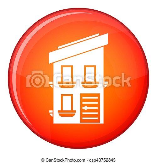 Two-storey house icon, flat style - csp43752843