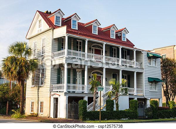 Two Story Antebellum in Charleston - csp12575738