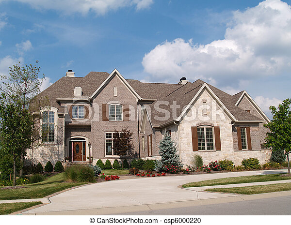 Two Story Brick and Stone Home - csp6000220