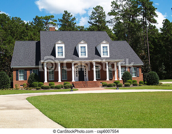 Two Story Brick Residential Home - csp6007554