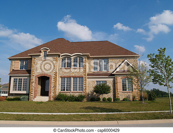 Two Story Stone Residential Home - csp6000429