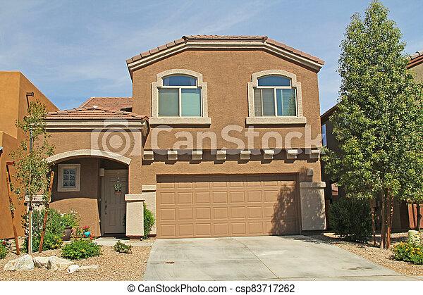 Two-story Stucco Home in Tucson, Arizona - csp83717262