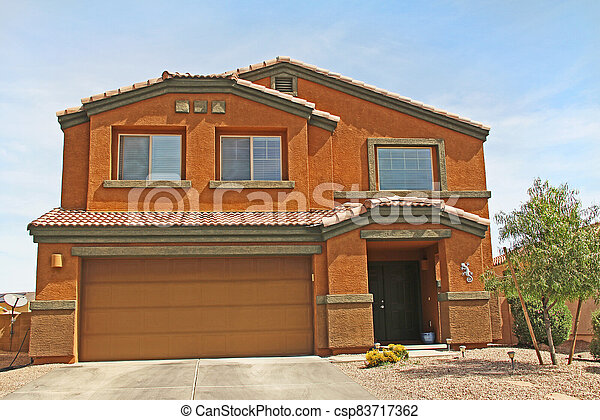 Two-story Stucco Home in Tucson, Arizona - csp83717362