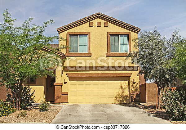 Two-story Stucco Home in Tucson, Arizona - csp83717326