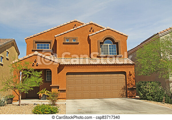 Two-story Stucco Home in Tucson, Arizona - csp83717340