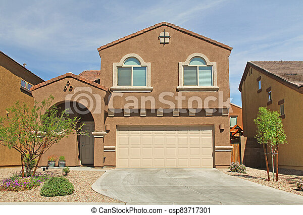 Two-story Stucco Home in Tucson, Arizona - csp83717301