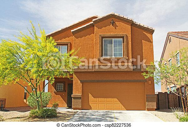 Two-story Stucco Home in Tucson, Arizona - csp82227536