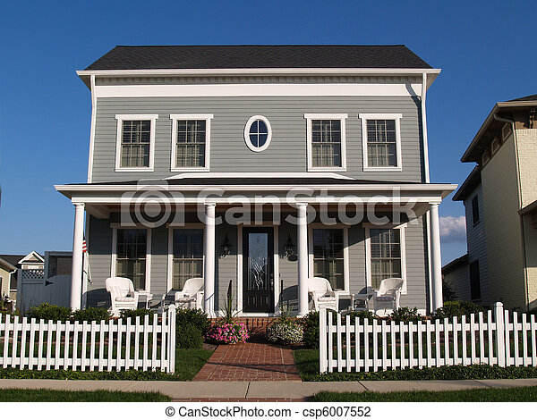 Two Story Vinyl Home With Historica - csp6007552