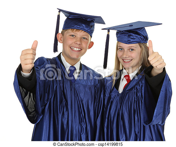 Two Students Showing Thumb Up Sign - csp14199815