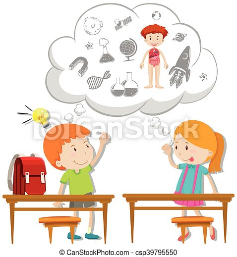 Two students thinking about schoolwork - csp39795550