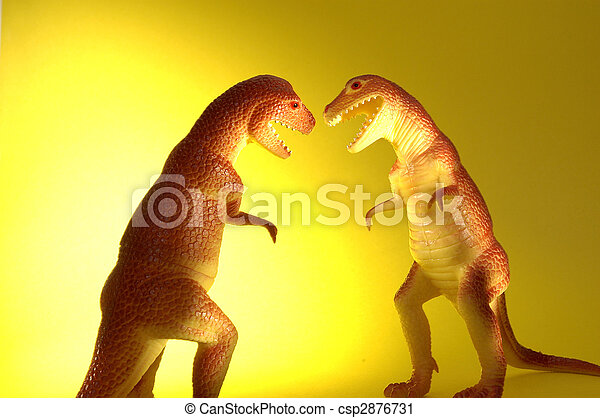 two t rex dinosaurs fighting or loving