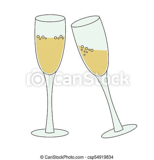 two tall glasses of sparkling wine champagne bubbly concept of new year eve toast or celebration