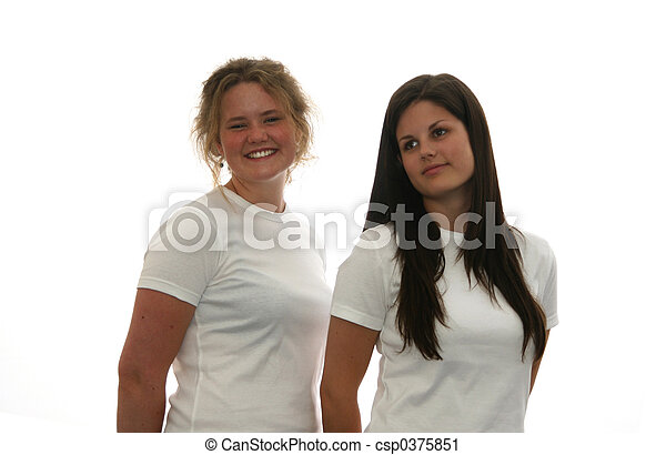 Two Teen Girls In Blank White T Shirt Sfor You To Add Your Own Text