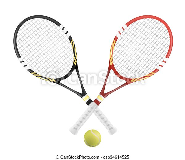 Two Tennis Racket And Ball