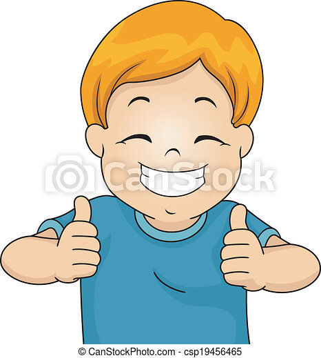 illustration of a little boy giving two thumbs up rh canstockphoto com two thumbs up clipart free Thumbs Up Sign Clip Art