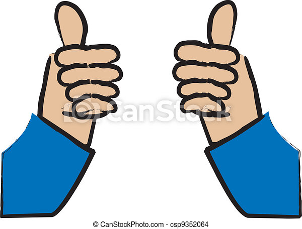 simple cartoon drawing of someone giving two thumbs up eps vector rh canstockphoto com