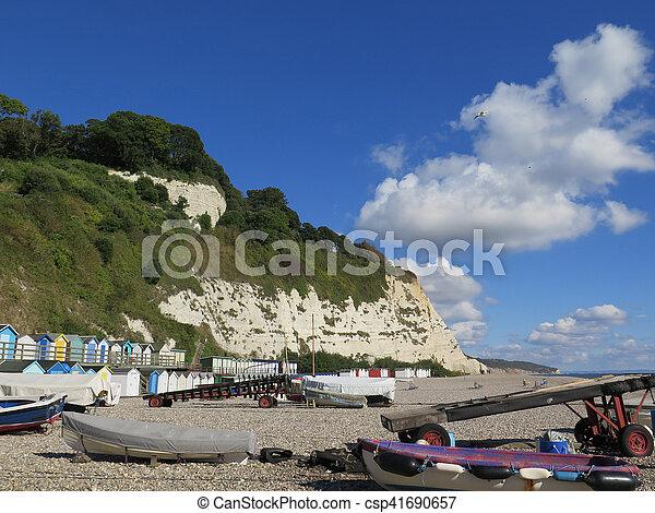 Two tier beach huts - csp41690657