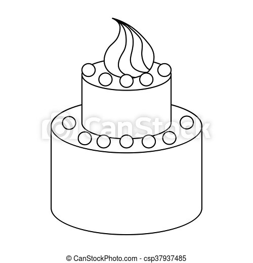 Two tier birthday cake icon, outline style - csp37937485