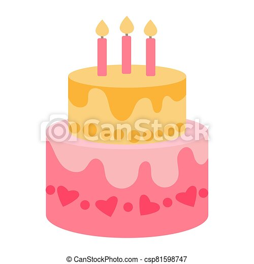 Two-tier festive cake with candles in a flat style on a white background. Delicious yellow and pink cream cake for a party. Sticker for childrens party design, icon for a party invitation with a treat - csp81598747